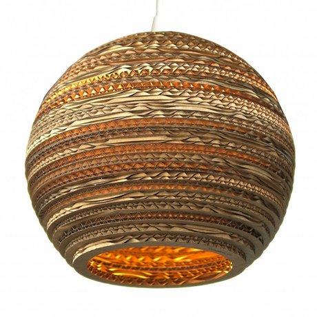 Graypants Lámpara colgante de la luna 14 de cartón, marrón, Ø36x31cm