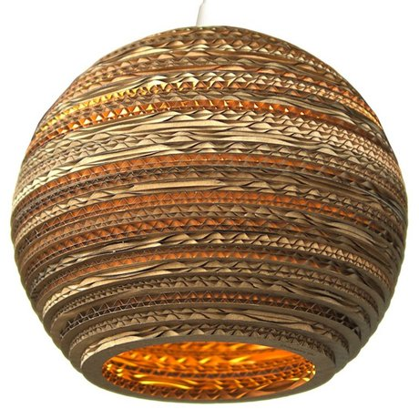 Graypants Hanging lamp Moon 18 cardboard, brown, Ø45x40cm