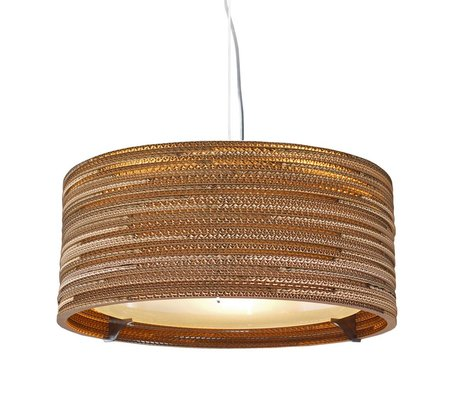 Graypants Hanging lamp Drum 18 cardboard, brown, Ø45x21cm