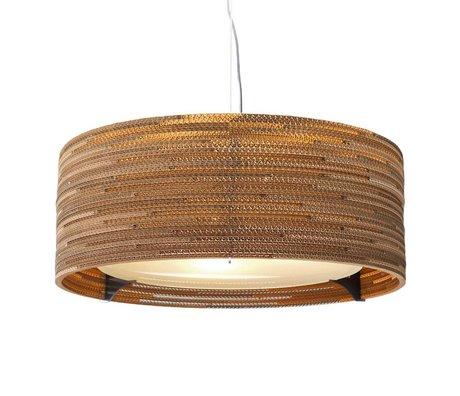 Graypants Lámpara colgante Drum 24 de cartón, marrón, Ø61x24cm