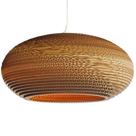 Graypants Lampada a sospensione Disco 24 di cartone, marrone, Ø61x26cm