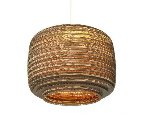 Graypants Hanging lamp Ausi 12 cardboard, brown, Ø28x20cm