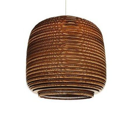 Graypants Lámpara colgante Ausi 14 de cartón, marrón, Ø39x36cm