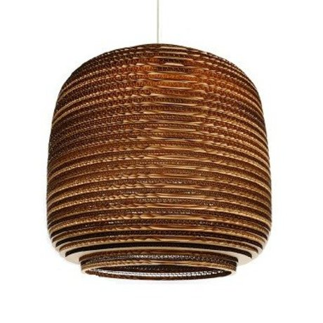 Graypants Hanging lamp Ausi 14 cardboard, brown, Ø39x36cm