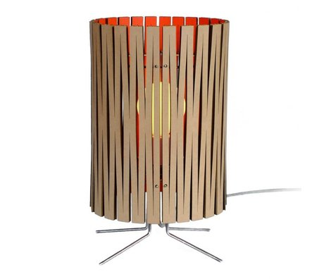 Graypants Lámpara de mesa de Palmer de cartón, de color naranja, Ø21x39cm