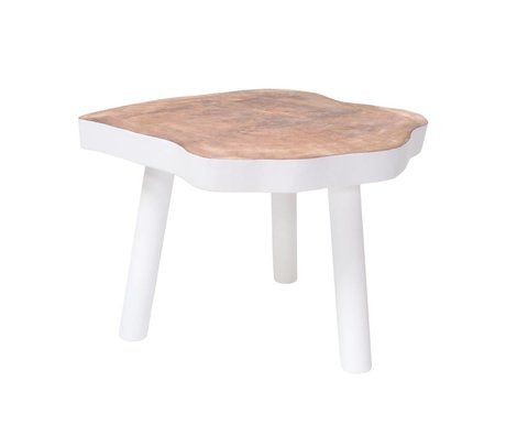 HK-living Table basse L arbre bois, blanc, 65x65x46cm