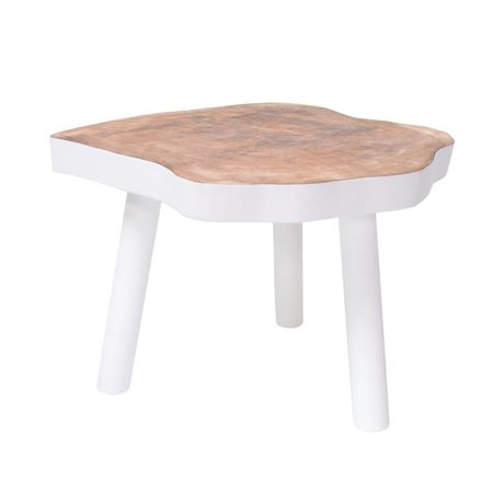 HK-living Coffee Table L wooden tree, white, 65x65x46cm