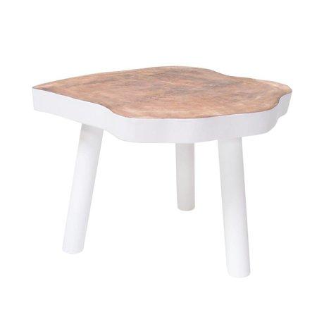HK-living Tavolino L albero di legno, bianco, 65x65x46cm