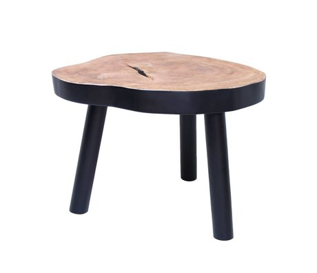 HK-living Sehpa L ağaç ahşap, siyah, 65x65x46cm