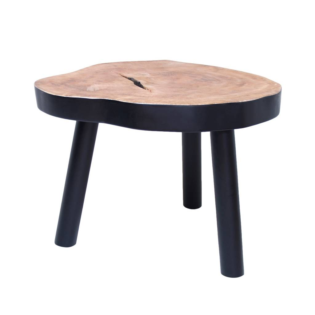 HK-living Madera L árbol mesa de café, negro, 65x65x46cm - lefliving.com