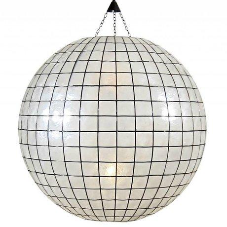 HK-living XL ampoule pendentif vitraux ø83cm blanc