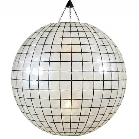 HK-living XL pendant light bulb stained glass white ø83cm