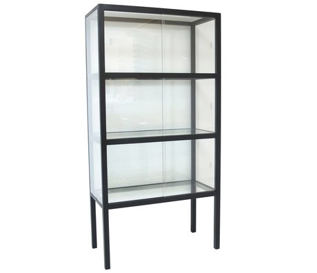 HK-living Vitrin camı / ahşap siyah 75x36x148cm