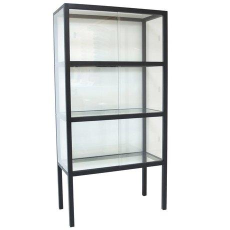 HK-living Showcase verre / bois 75x36x148cm noir