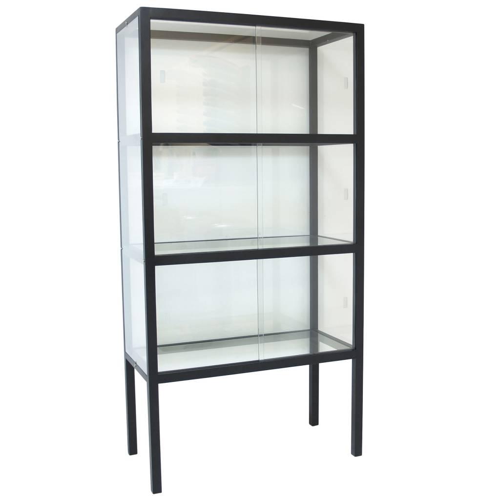 hk living vitrinenschrank aus glas holz schwarz 75x36x148cm. Black Bedroom Furniture Sets. Home Design Ideas