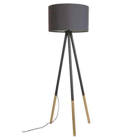 Zuiver Floorlamp Highland metal / wood dark gray Ø53xH155cm