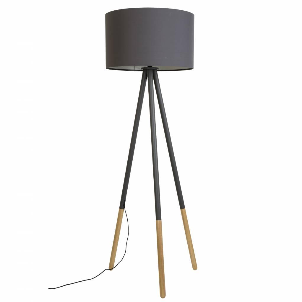 zuiver stehlampe highland aus metall holz dunkelgrau. Black Bedroom Furniture Sets. Home Design Ideas