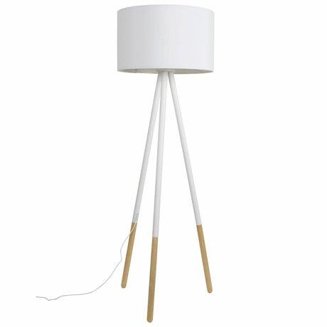 Zuiver Floorlamp Highland métal / bois Ø53xH155cm blanc