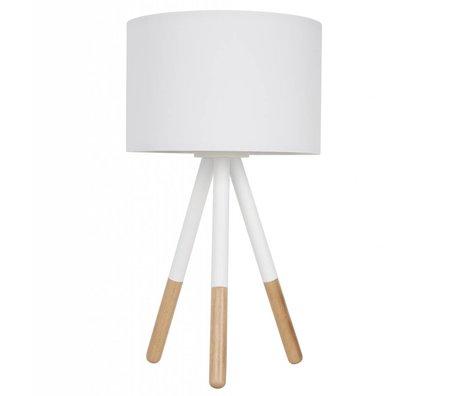 Zuiver Tischlampe Highland aus Metall/Holz, weiß, Ø30xH54cm