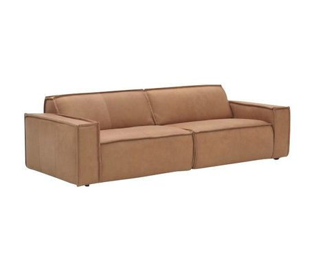 FEST Amsterdam Leather sofa `Edge` 3 seater, brown
