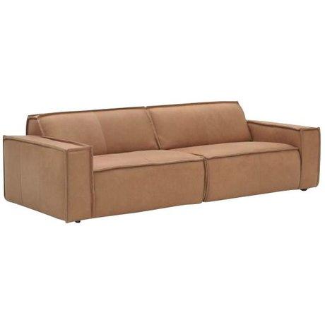 FÉST Læder sofa `Edge` 3 pers, brun