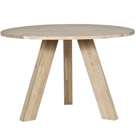 LEF collections Rhonda untreated oak dining table ø129x77cm