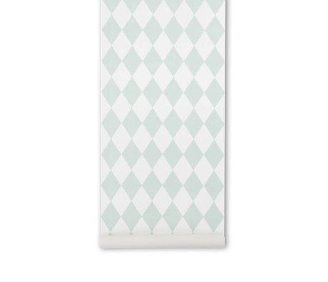 Ferm Living Harlequin duvar kağıdı nane yeşil kareli 10,05x0,53m