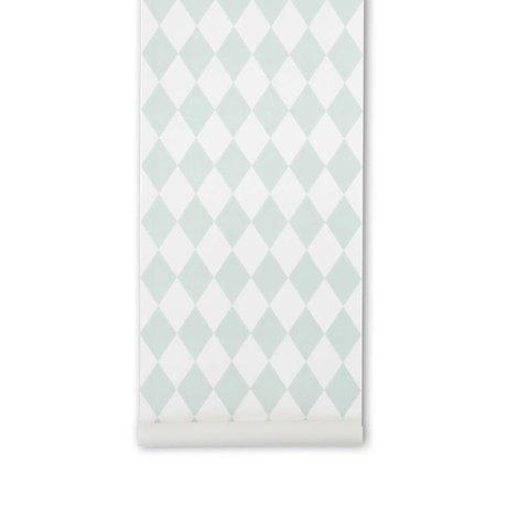 Ferm Living Papier peint Harlequin menthe damier vert 10,05x0,53m