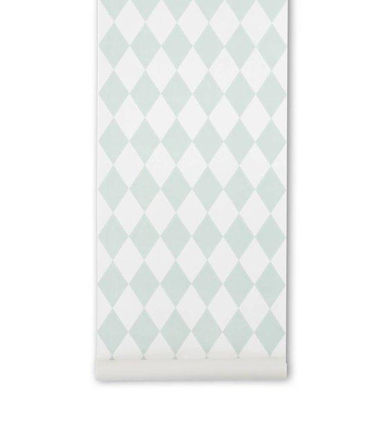 Ferm Living Tapete Harlequin : Ferm Living Tapete Harlequin, mintgr?n/wei?, 10,05×0,53m – lefliving