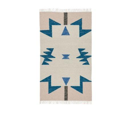 Ferm Living Kilim Tappeto blu Triangoli 80x140cm