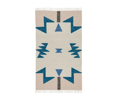 Ferm Living Teppich Kelim Blue Triangles in 2 Größen 80x140cm/140x200cm