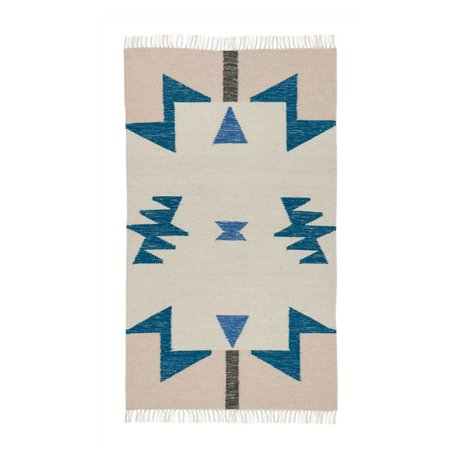 Ferm Living Kilim Alfombra Triángulos azules 80x140cm