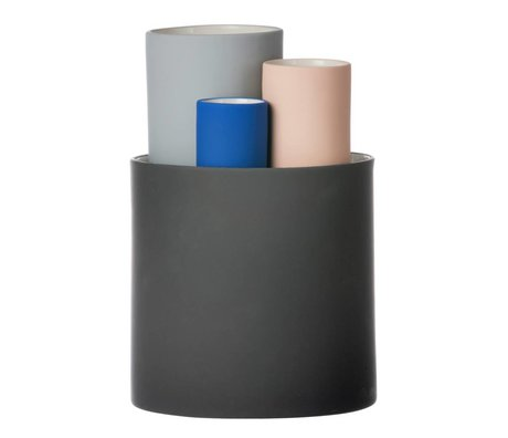 Ferm Living Indsamle vase sæt med fire vaser sort grå pink blå Ø14,5x19,5cm