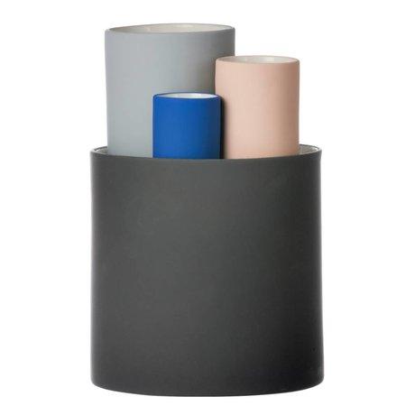 Ferm Living Recoger florero conjunto de cuatro jarrones negro gris rosado Ø14,5x19,5cm azul