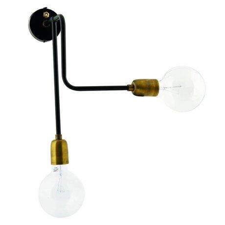 Housedoctor Lampada da parete in metallo molecolare oro nero 30x22x45cm