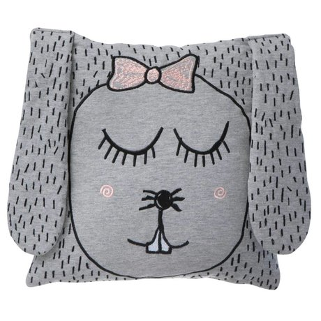 Ferm Living Throw Pillow / Plush Little Ms. Rabbit gray 30x30cm