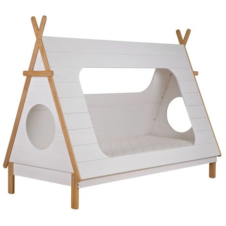 LEF collections Cama Tipi blanco 106x215x163cm pino