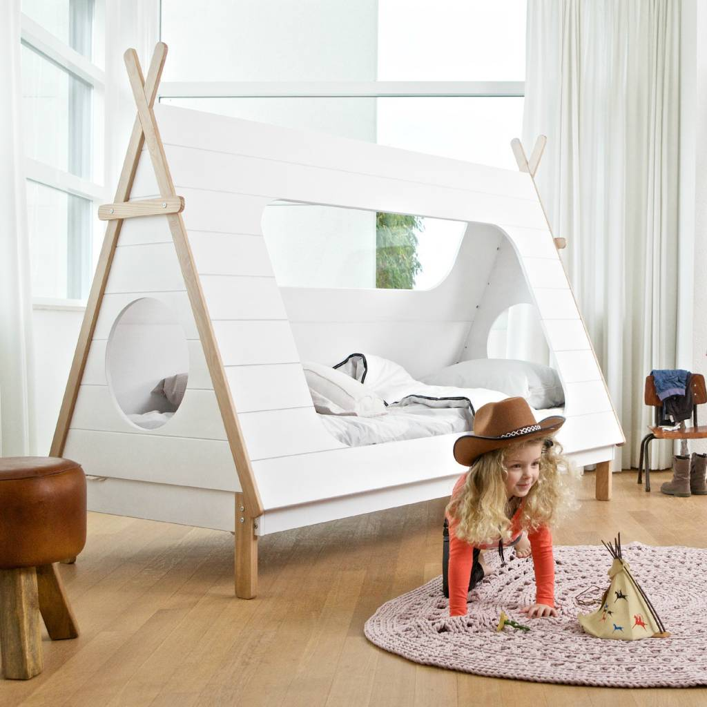 cama tipi blanco 106x215x163cm pino. Black Bedroom Furniture Sets. Home Design Ideas