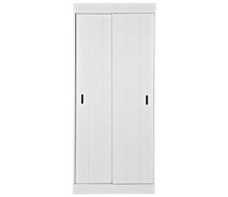 LEF collections étagères de l'armoire de rang avec portes coulissantes du pin blanc de 85x44x195cm