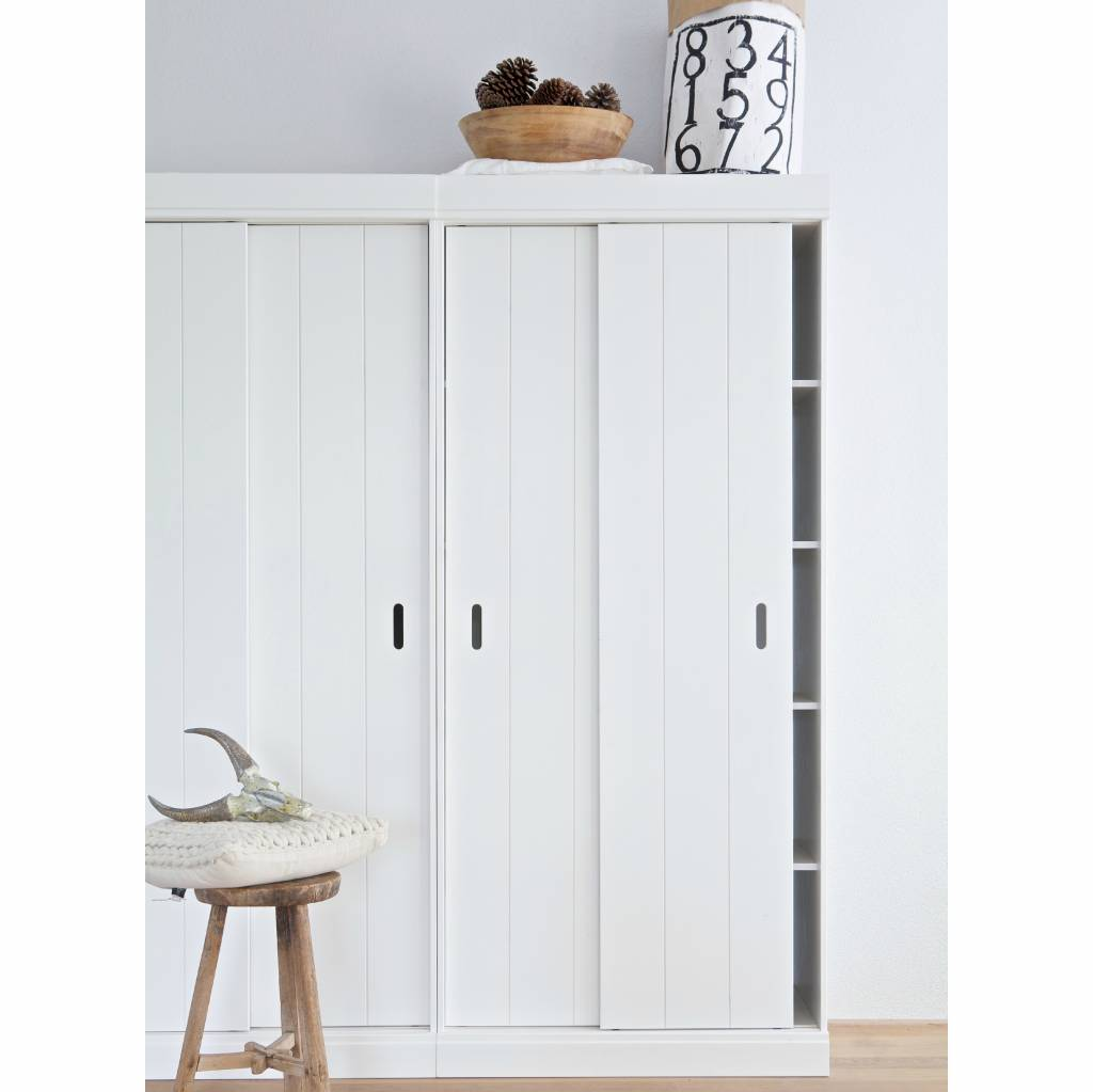 schrank row mit schiebet ren aus kiefernholz wei 85x44x195cm. Black Bedroom Furniture Sets. Home Design Ideas