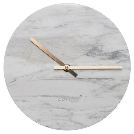 Zuiver Uhr Marble Uhr mit gold Zeiger, Ø25x4,5cm