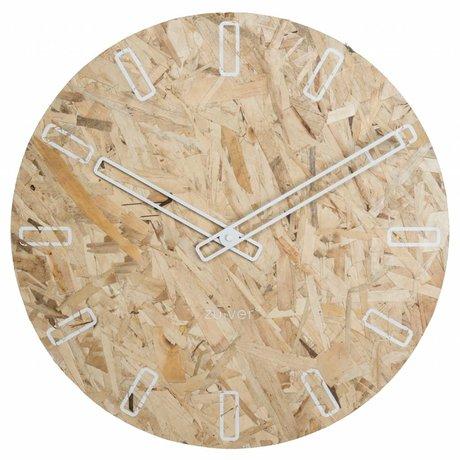 Zuiver OSB reloj del tablero de partícula con manos blancas Ø50x4,5cm