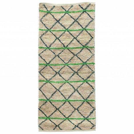 Housedoctor Tappeto Verde geometria verde nero beige tela 90x200 cm