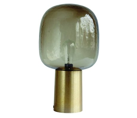 Housedoctor Lámpara de Mesa Nota vidrio canoso ø28x52cm de aluminio de oro