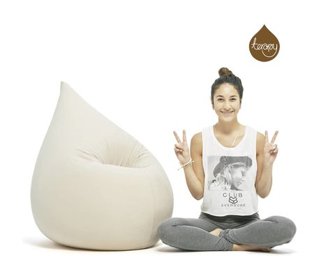 Terapy Sitzsack Elly Tropf aus Baumwolle, beige, 100x80x50cm 230 Liter