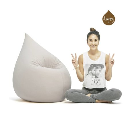 Terapy Sitzsack Elly Tropf aus Baumwolle, hellgrau, 100x80x50cm 230 Liter