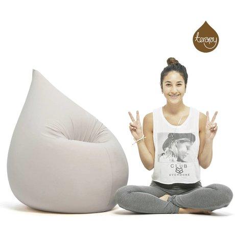 Terapy Baisse pouf Elly coton gris clair 100x80x50cm 230liter