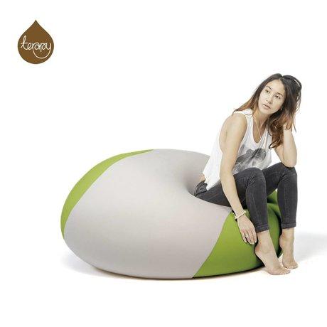 Terapy Sitzsack Ollie, hellgrau/grün, 100x100x80cm 700liter