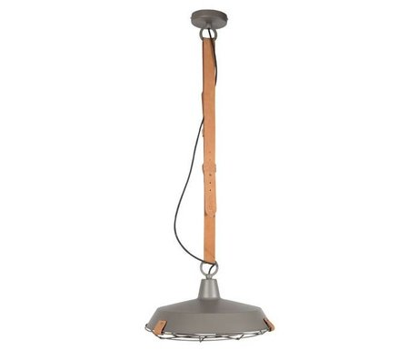 Zuiver Deck 40 gray metal pendant light brown leather Ø40x18cm