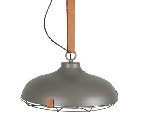 Zuiver Deck 51 gray metal pendant light brown leather Ø51x22cm
